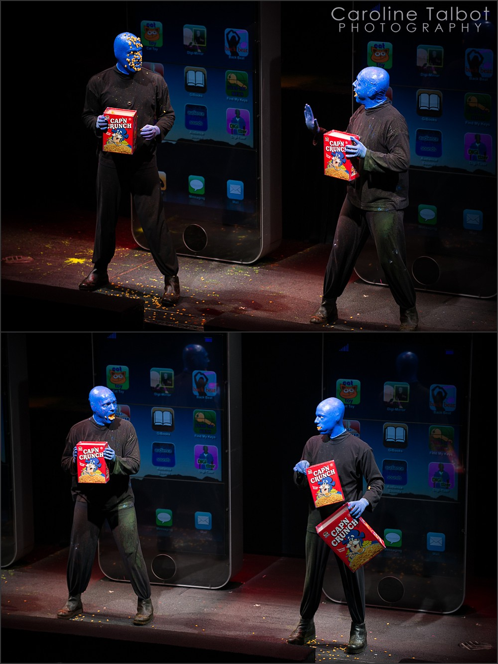 Brian Tavener, Greg Balla, Mike Brown, Blue Man Group Boston Captain Crunch